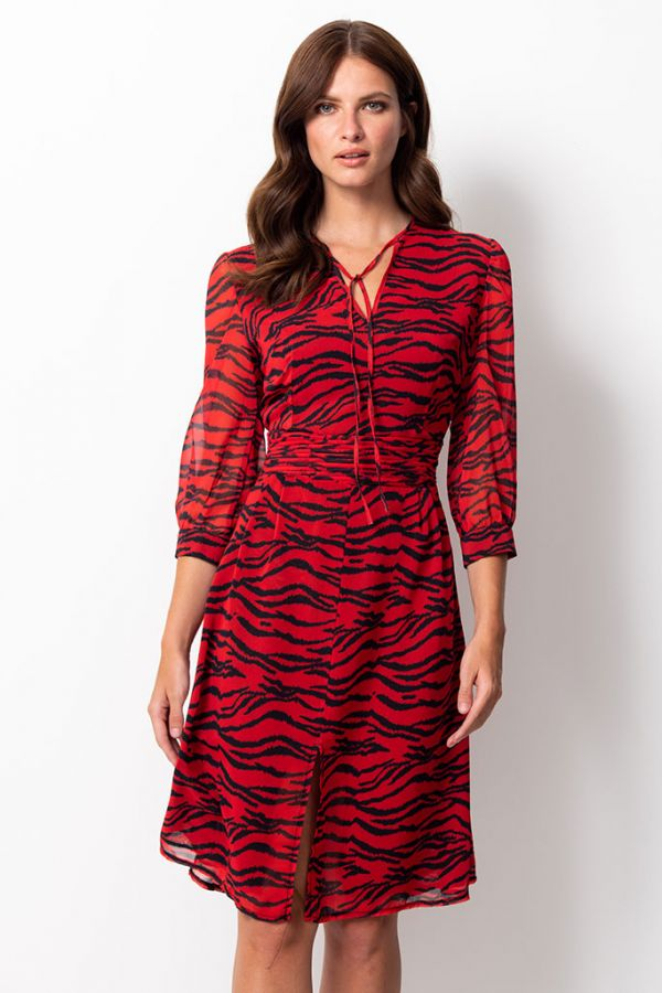 Red Tiger Print Fit & Flare Dress