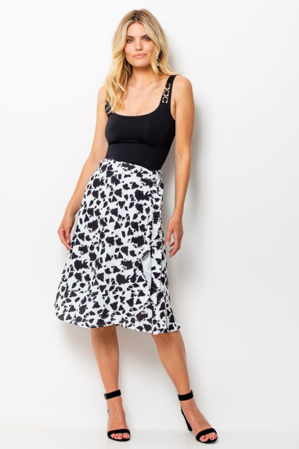 Black & White Chic Print Ruffle Hem Wrap Skirt
