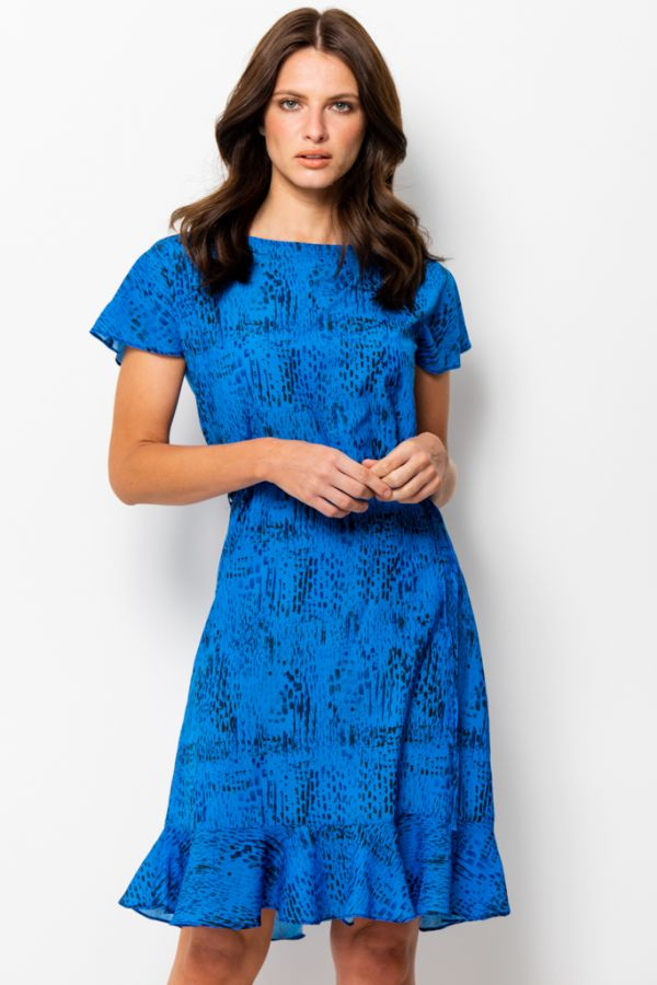 Blue Textured Print Ruffle Hem Shift Dress