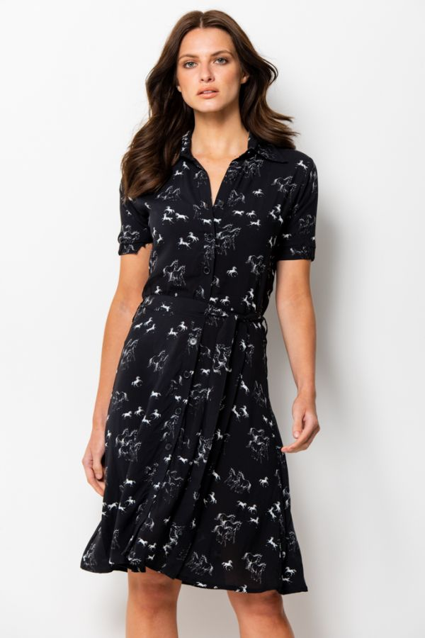 Black & White Horse Print Belted Shirt Dress