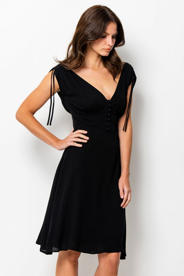 Black Tie Sleeve Sun Dress