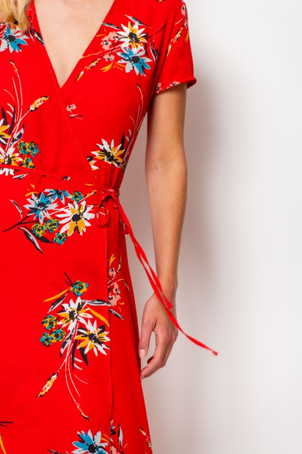 Red Floral Print Wrap Maxi Dress