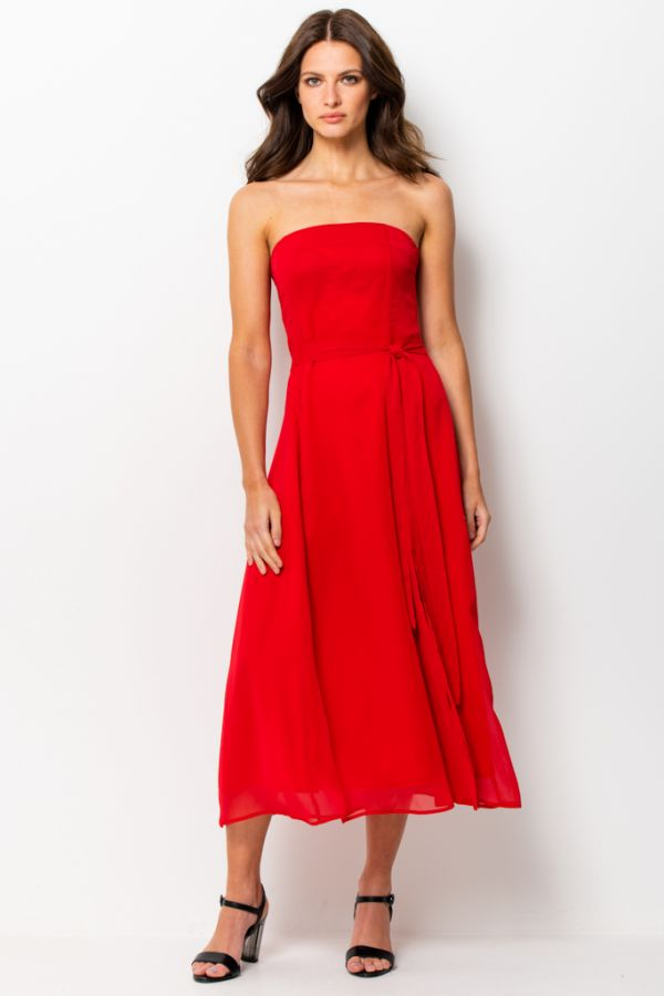Red Front Split Detail Belted Bandeau Dress
