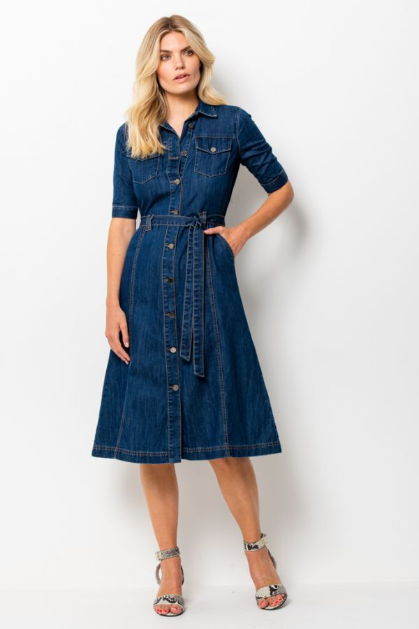 Dark Indigo Belted Denim Midi Dress