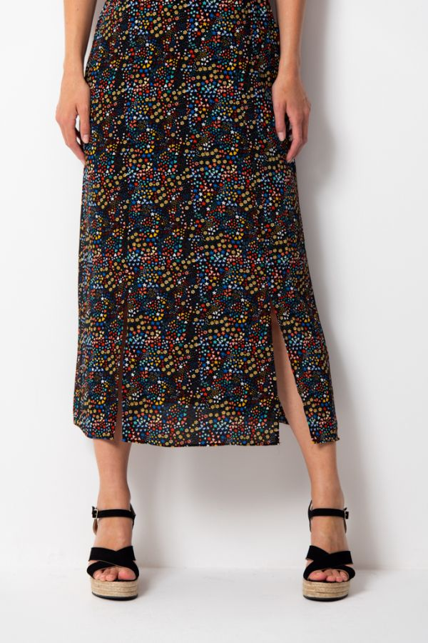 Black Ditsy Floral Print Split Detail Midi Dress