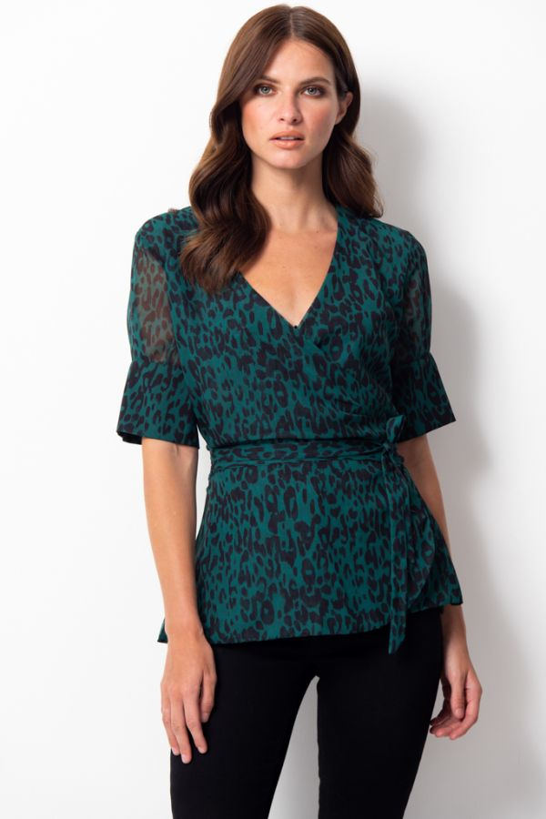 Green Leopard Print Wrap Top