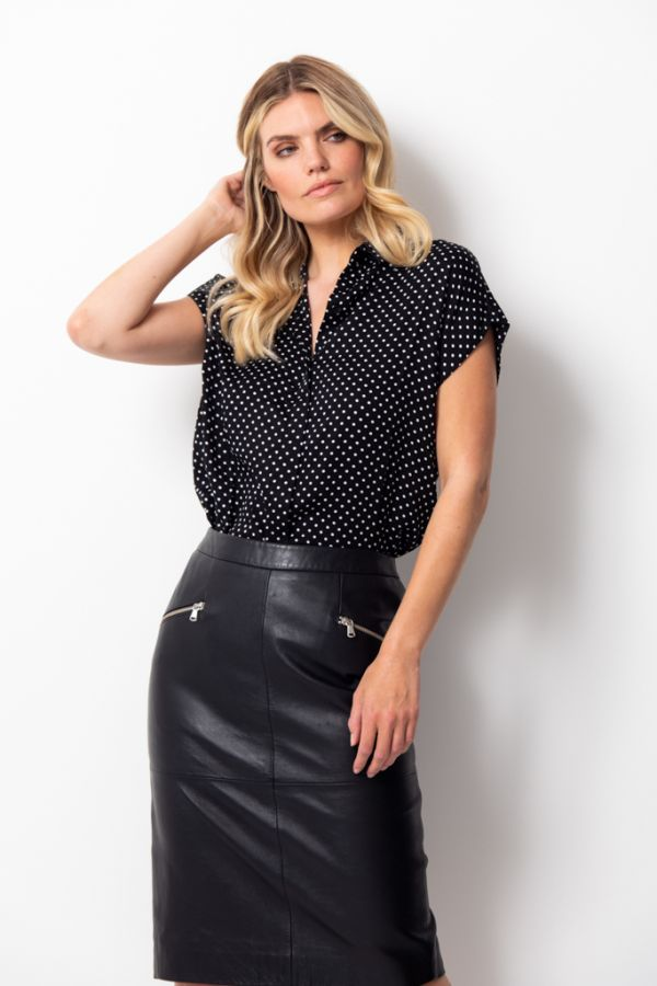 Black & White Polka Dot Short Sleeve Shirt