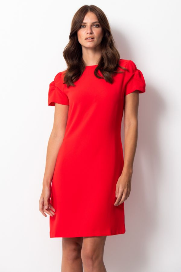 Red Ruched Sleeve Shift Dress