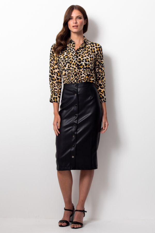 Black Leather Look Popper Front Pencil Skirt