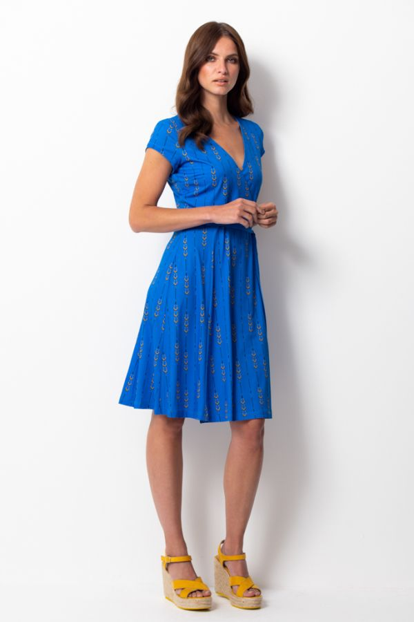 Blue Horseshoe Print Slinky Wrap Dress