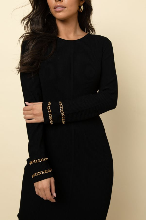 Black Knitted Gold Chain Sleeve Detail Dress