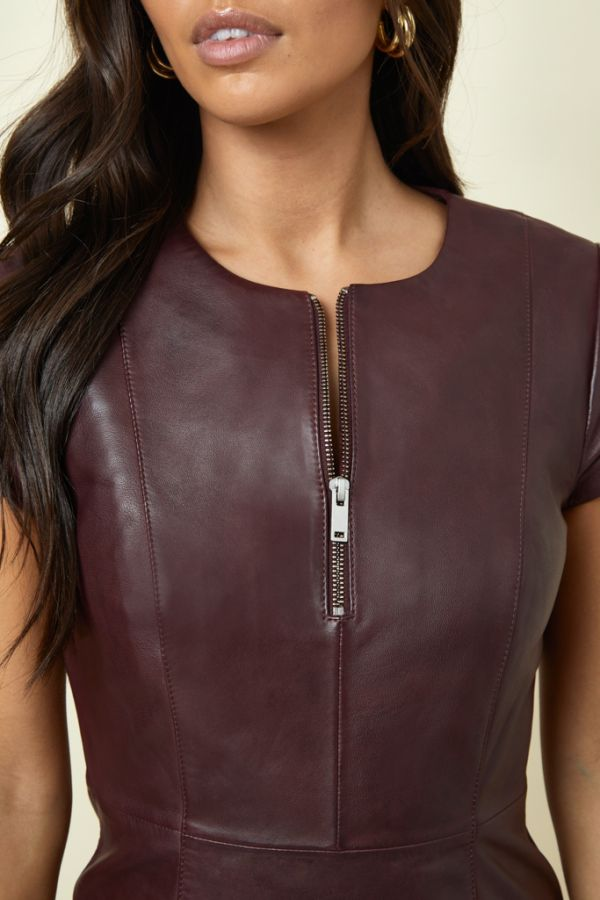 Burgundy Luxury Leather Zip Front Fit & Flare Dress