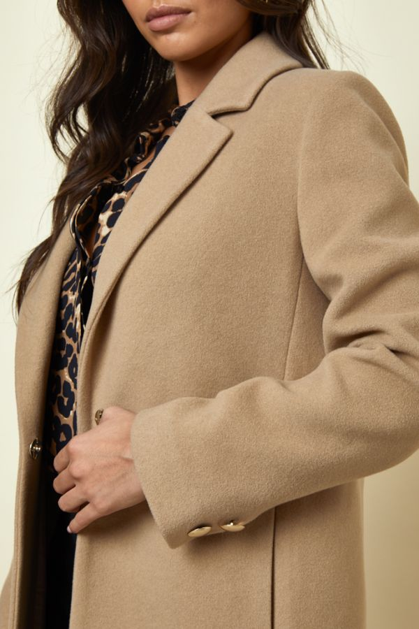Camel Relaxed Fit Wool Mix Coat