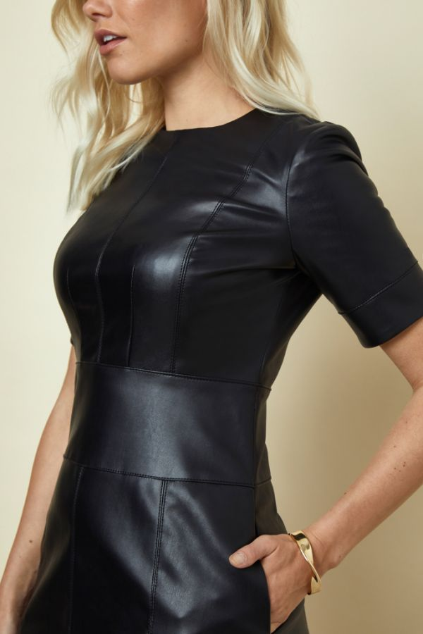 Black Leather Look Panelled Shift Dress