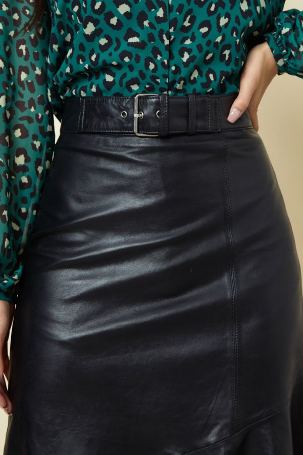 Black Leather Asymmetric Ruffle Hem Skirt
