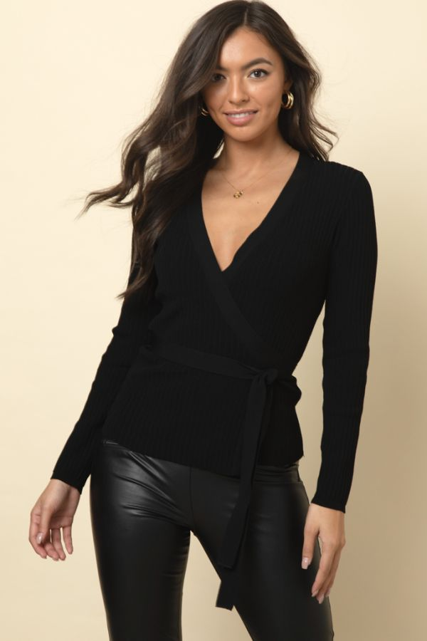 Black Ribbed Detail Tie Waist Wrap Top