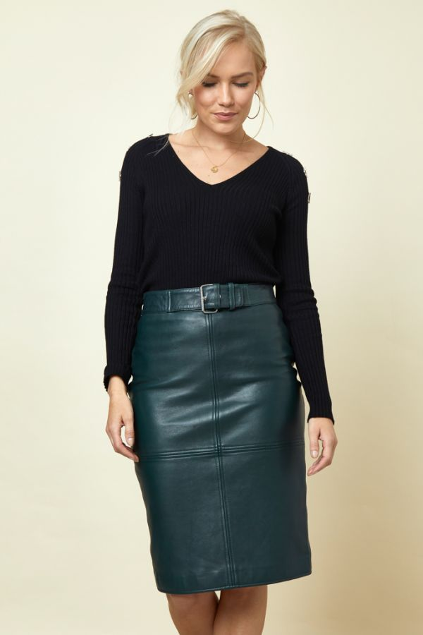 Dark Green Leather Buckle Detail Pencil Skirt