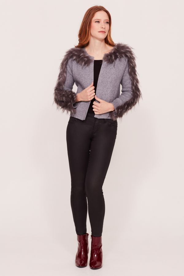 Grey Faux Fur Sleeve Cardigan