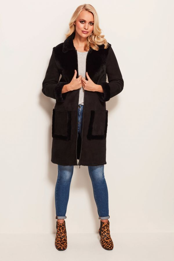 Black Luxury Shearling Coat