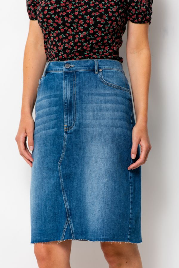 Light Wash Denim Longer Skirt