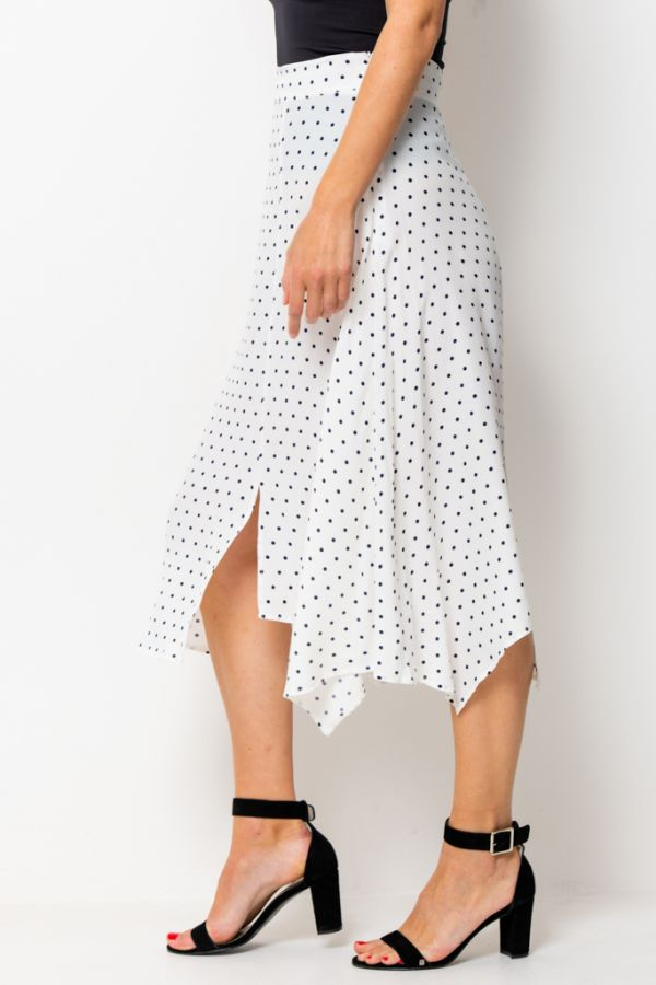 White & Navy Spot Print Side Split Skirt