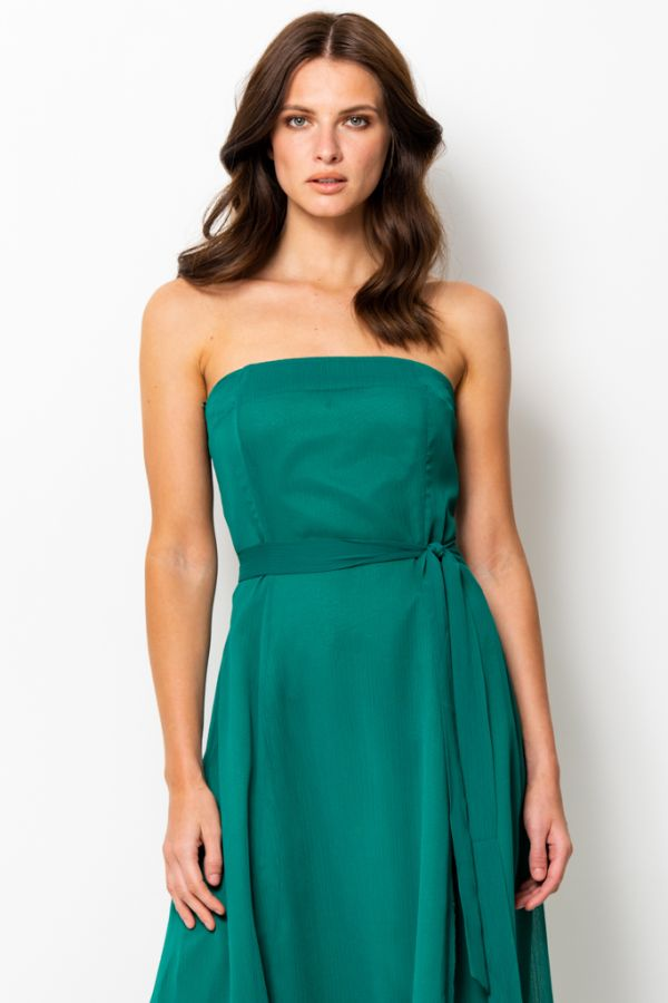Emerald Green Front Split Detail Belted Bandeau Dress