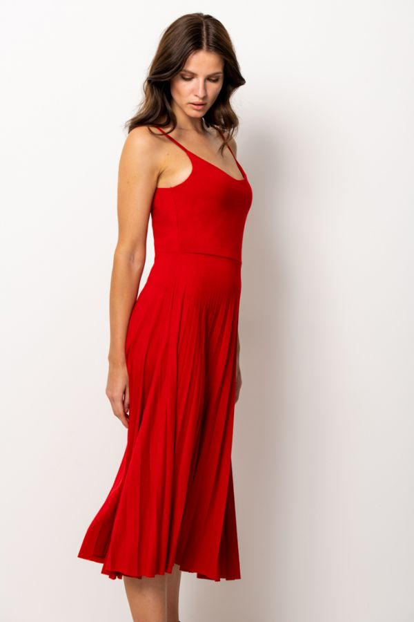Red Jersey Midi Pleated Dress