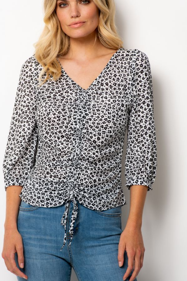 White & Black Floral Print Gather Front Top