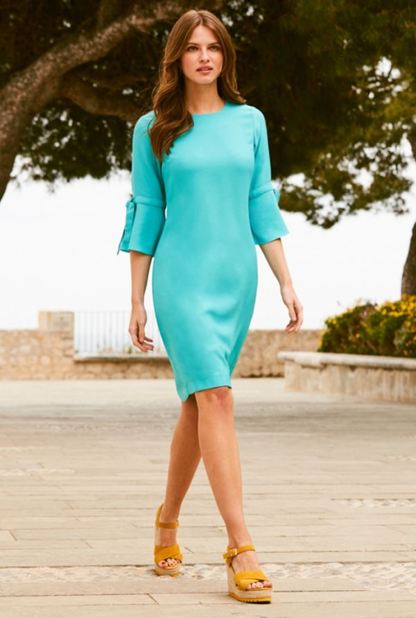 Aqua Blue Flute Sleeve Shift Dress