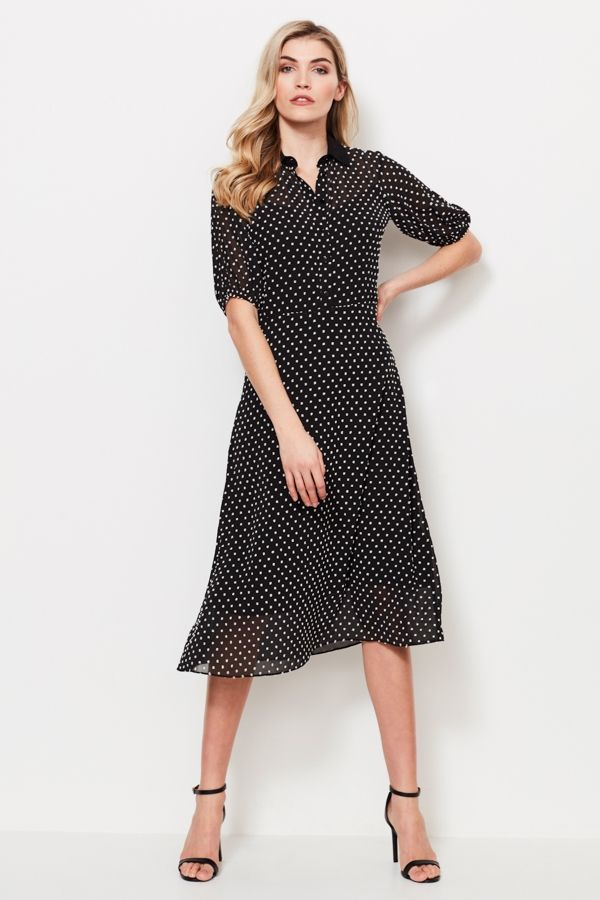 Black & White Woven Spot Shirt Dress