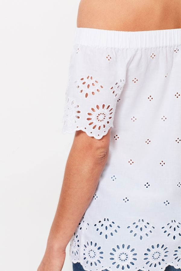 White Broderie Anglaise Bardot Top