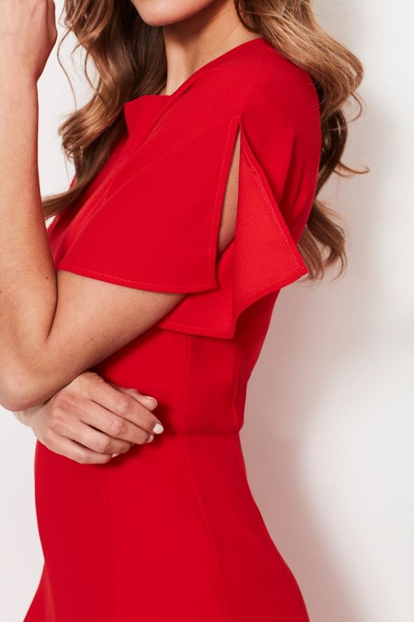 Poppy Red Panelled Fit & Flare Dress