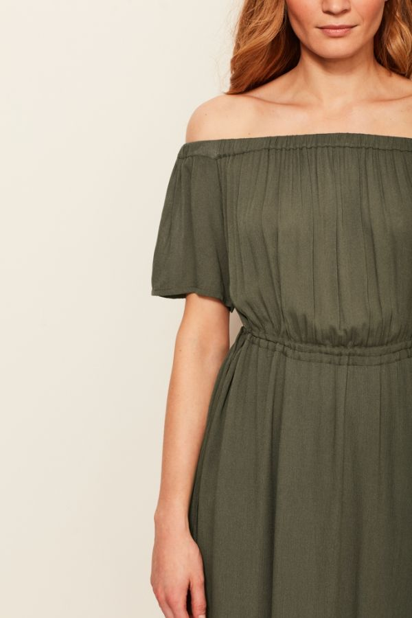 Khaki Bardot Maxi Dress