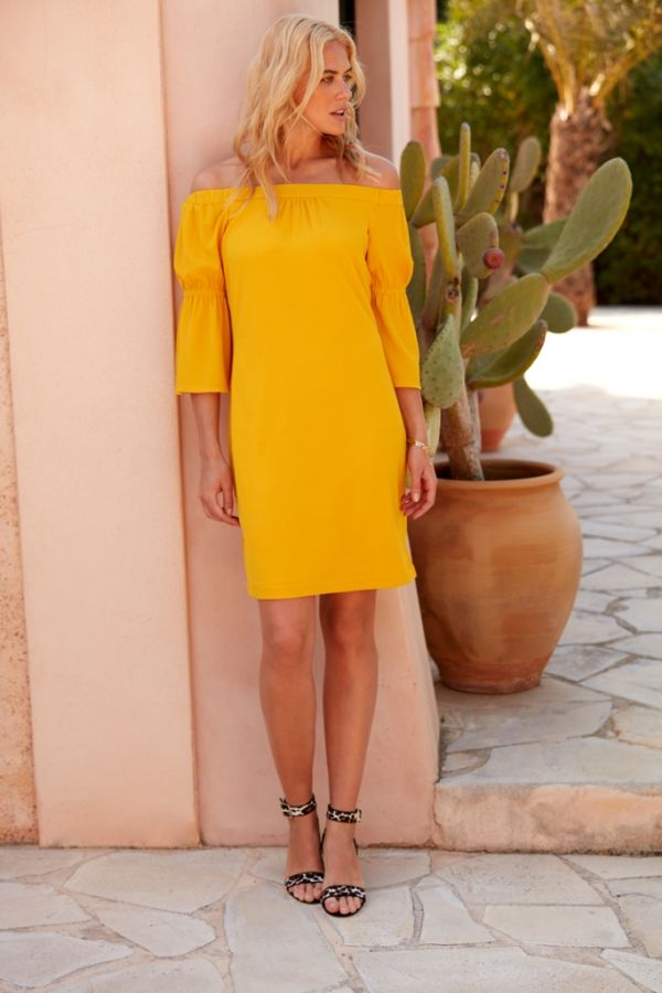 Yellow Flute Sleeve Bardot Dress