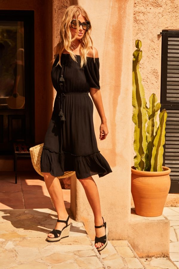 Black Bardot Beach Dress