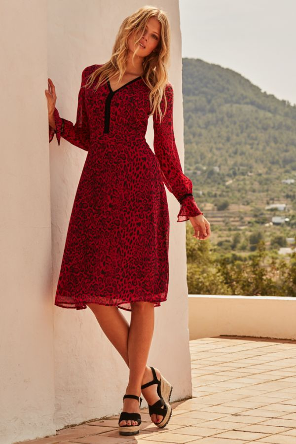 Red Leopard Print V Neck Dress
