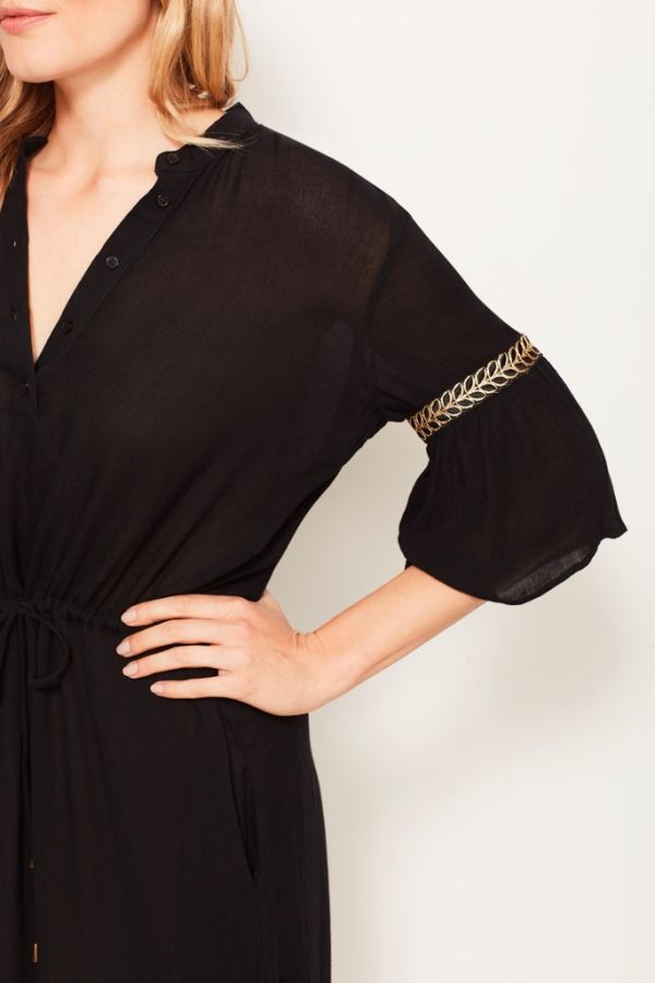 Black Embellished Trim Beach Cover-Up