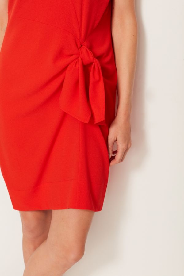 Orange Tie Front Shift Dress