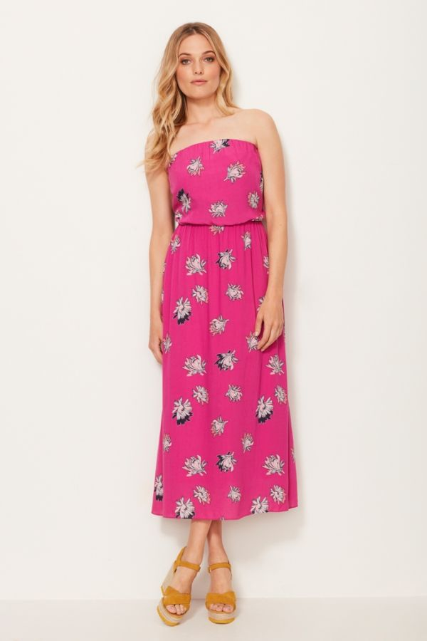 Bold Bloom Pink Bandeau Dress