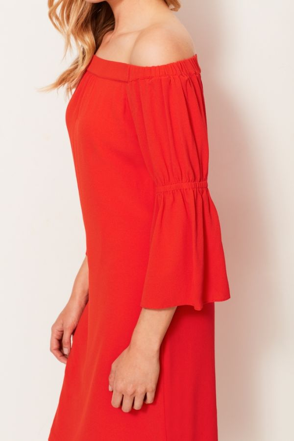 Orange Flute Sleeve Bardot Dress