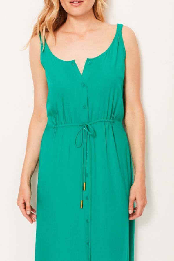 Green Button Through Maxi Dress