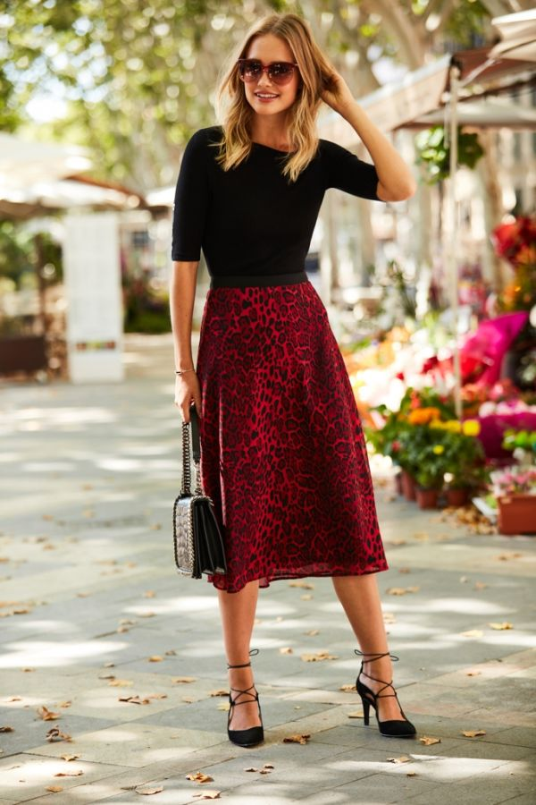 Red Leopard Print Midi Skirt