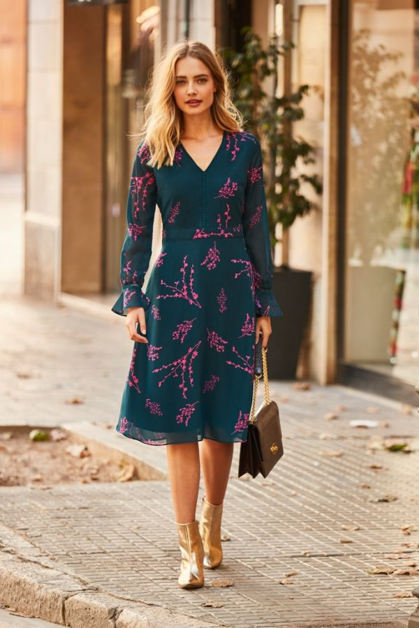 Green & Pink Forest Sprig Print Dress