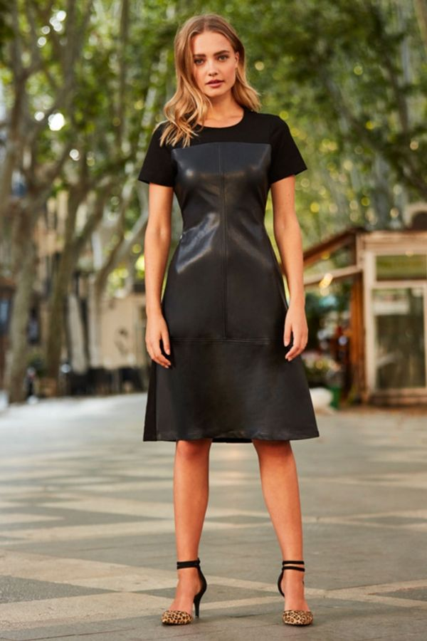 Black Leather Look Panel Front Ponte Dress