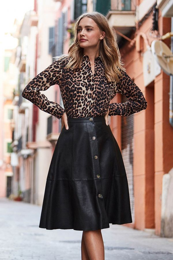 Black Leather Popper Front Skirt