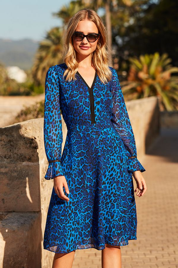 Sapphire Blue Leopard Print V Neck Dress