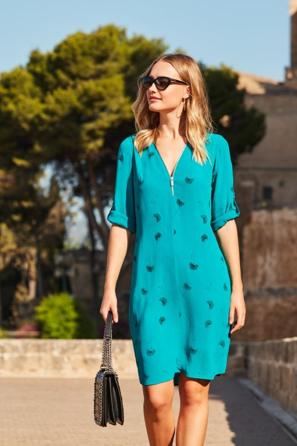 Green Dandelion Print Zip Neck Shift Dress