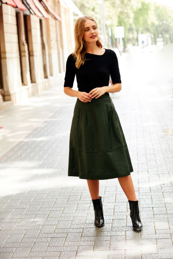 Dark Green Croc Embossed Leather Skirt