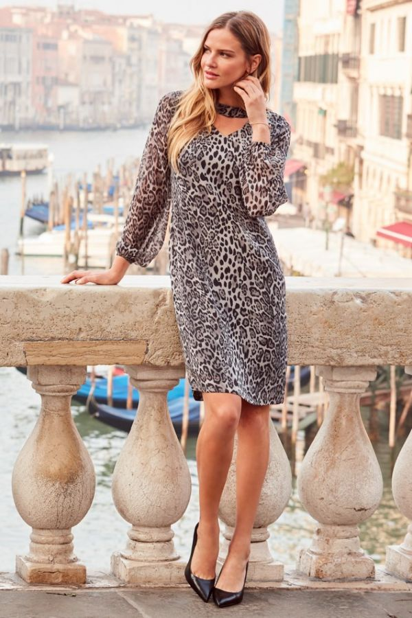 Snow Leopard Print Long Sleeve Shift Dress