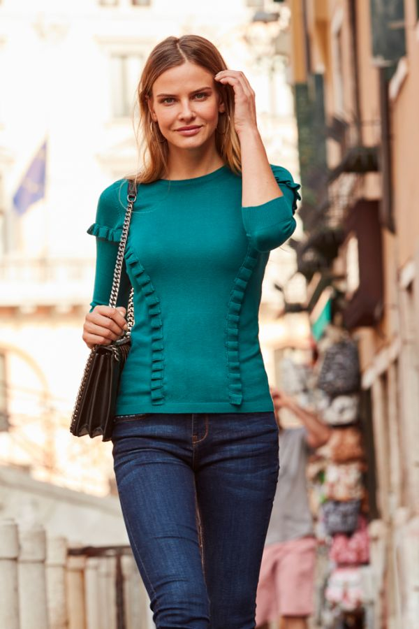 Teal Green Ruffle Panel Jumper